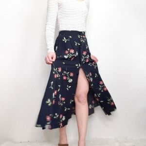 Vintage 90s Black Floral Button Front Midi Skirt